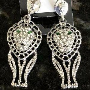 Lion drop earrings NWOT green CZ eyes!